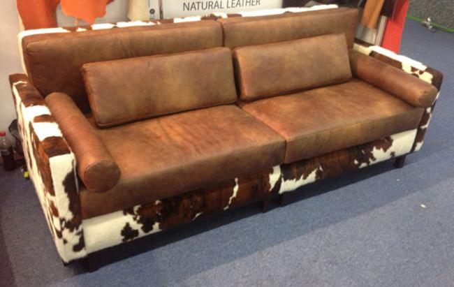 sofa rustic cowhide